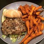 Churkey Burger and Sweet Potato Fries