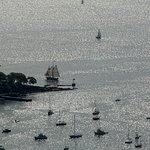 Sailboats in Camden Harbor, taken from the summit of Mt. Battie.