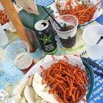 Mahi Mahi tacos and shoestring sweet potatoes.