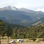 View out RV window at Elk Meadow RV Resort, Estes Park, CO