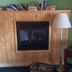 This is how we found the fireplace and the books above it.