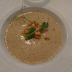 Starter: Chanterelle soup, rainbow trout, apples, dill