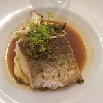 Main course: Filé of hake, king oyster mushroom, crayfish broth, dill crisp, potato & cheese pur