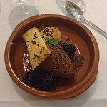 Dessert: Salty caramel mousse, puff pastry, rum marinated blackberries