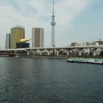 The Sumida River behind the Guesthouse seen from the blue bridge pretty close to the Guesthouse