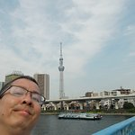 Me standing on the blue bridge (very close to the Guesthouse) with the Skytree behind me