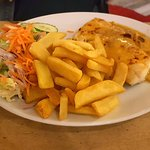 Smoked Haddock with Welsh Rarebit, salad and chips