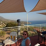 View back down to Lourdas beach from the Bar 360 roof terrace