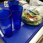 You know, salads need Kraft more often. The clear Pepsi cups resemble the facades of gems.