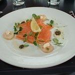 Salmon and king prawn starter