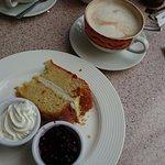 lemon cake and latte