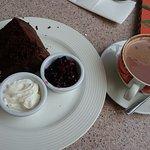 chocolate cake and hot chocolate