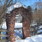 The famous Applecore twisted brick gate in winter