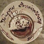 Complimentary anniversary dessert.... delicious