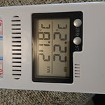 The peak temperature recorded in the dining room with 80 - 90% humidity. Uncomfortable and every