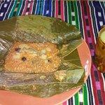 Pache vegano y atol de platano,plato exquisito hecho en casa.
