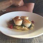 Seared scallops w/ crab and potato hash