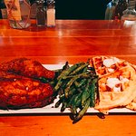 Chicken and waffles with green beans
