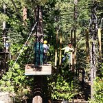 Zip line to suspended log crossing!
