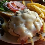 The Pub Cheeseburger with fries