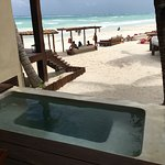 Tub in front of the cabana porch