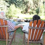 Sit in the Adirondack chairs and enjoy the river!