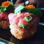 Tuna on a rice cake