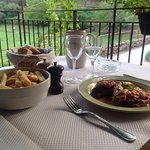 Guinea fowl and chips