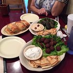 Meatballs, spinach pastries, dolmades, pitta and yoghurt dip