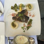 Fried fish with herb butter sauce