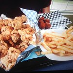 1lb gizzards, fries and hush puppies