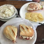 Haddock chowder, Italian sandwich, and crab roll with chips. Awesome meal!