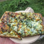 Spinach, Cheese & Garlic on Bread