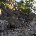 stone steps through boulder field