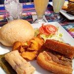 Chicharron de Chancho - Deep Fried Pork Belly, Sweet Potato Chips Watermelon/Orange/Apple Juice.