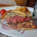 A raw hamburger