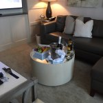 Villas living room with Champagne gift
