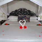 One of the many beautifully decorated bed displays