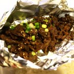 Bulgogi arrived wrapped in foil to keep it warm.