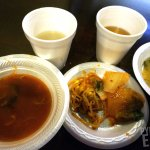 Unlimited serve-yourself Kimchi Soup, Miso Soup, 2 types of Kimchi, Barley Tea, and Rice Malt dr