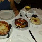 Shrimp saganaki starter baked feta and hoummus
