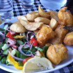 Fresh Monkfish Scampi, salad and chips
