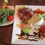 Jon's Poki entree (ahi tuna) with a side salad at Jon & Patti's Coffee Bar & Bistro.