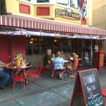 Eating outside Jon & Patti's Coffee Bar & Bistro.