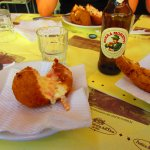 Open arancini with beer