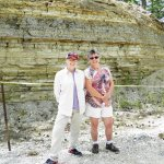 The owner of the fossil quarry (left) and I (on right).