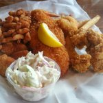 Fried Seafood Platter and Oysters on a half shell