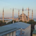 view from top floor of hotel-blue mosque and Istanbul