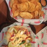 You must try the fish tacos!! Some of the best I've ever had! The kettle chips with the chipotle