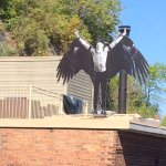 Those crazy Canadiens - Birdman of Quebec on the roof across the street.